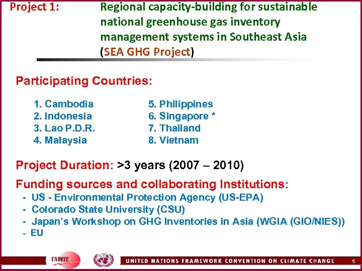 Project 1: Regional capacity-building for sustainable national greenhouse gas inventory management systems in Southeast