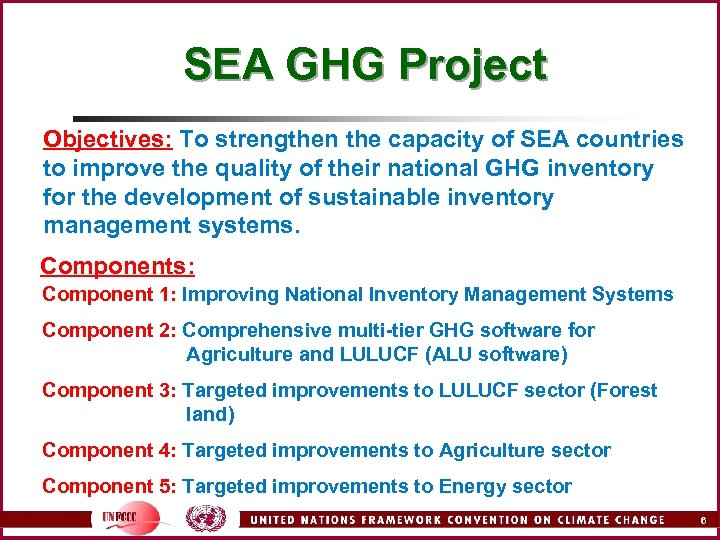 SEA GHG Project Objectives: To strengthen the capacity of SEA countries to improve the
