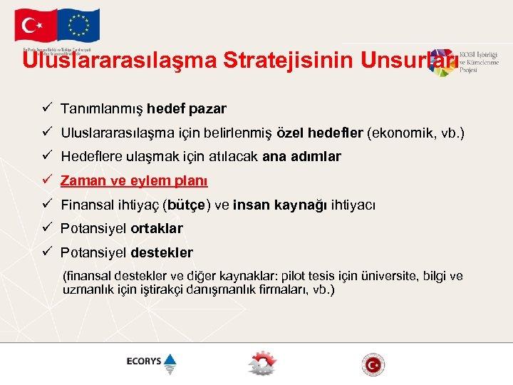 Uluslararasılaşma Stratejisinin Unsurları ü Tanımlanmış hedef pazar ü Uluslararasılaşma için belirlenmiş özel hedefler (ekonomik,