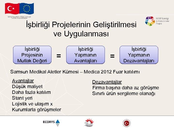 İşbirliği Projelerinin Geliştirilmesi ve Uygulanması İşbirliği Projesinin Mutlak Değeri = İşbirliği Yapmanın Avantajları =