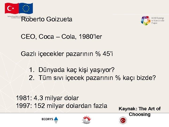 Roberto Goizueta CEO, Coca – Cola, 1980'ler Gazlı içecekler pazarının % 45'i 1. Dünyada