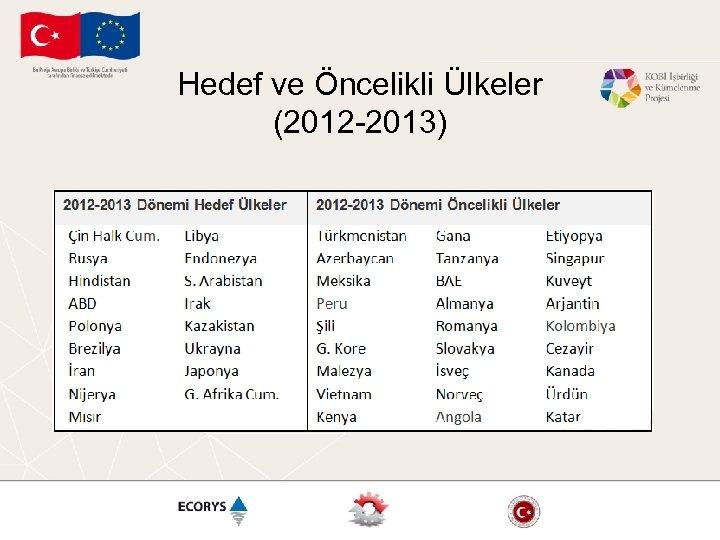 Hedef ve Öncelikli Ülkeler (2012 -2013)