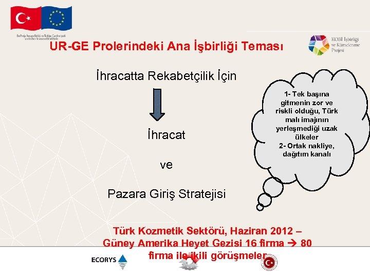 UR-GE Prolerindeki Ana İşbirliği Teması İhracatta Rekabetçilik İçin İhracat ve 1 - Tek başına