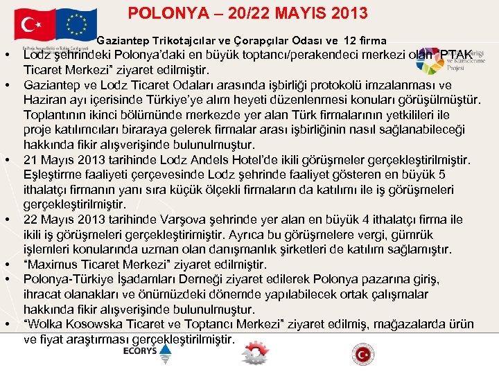 POLONYA – 20/22 MAYIS 2013 Gaziantep Trikotajcılar ve Çorapçılar Odası ve 12 firma •