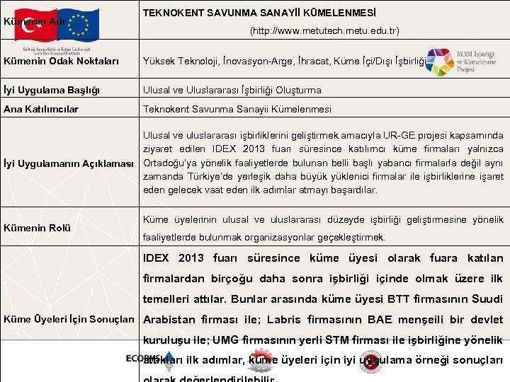 Kümenin Adı TEKNOKENT SAVUNMA SANAYİİ KÜMELENMESİ (http: //www. metutech. metu. edu. tr) Kümenin Odak