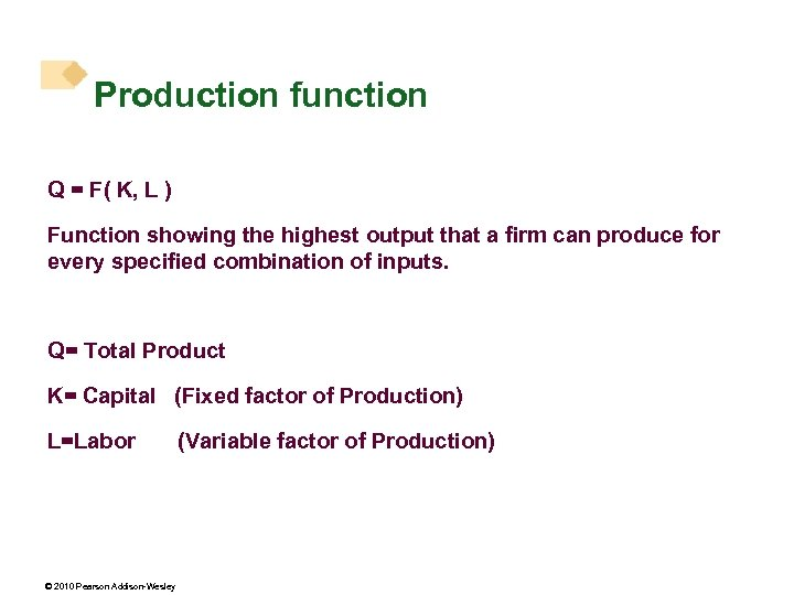 Production function Q = F( K, L ) Function showing the highest output that