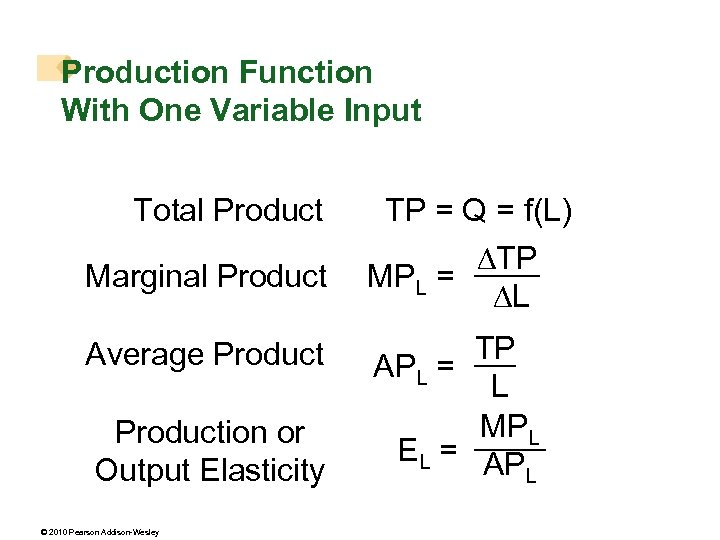 Production Function With One Variable Input Total Product Marginal Product Average Production or Output