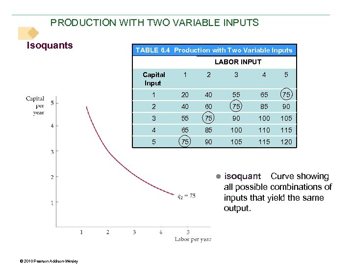 PRODUCTION WITH TWO VARIABLE INPUTS Isoquants TABLE 6. 4 Production with Two Variable Inputs