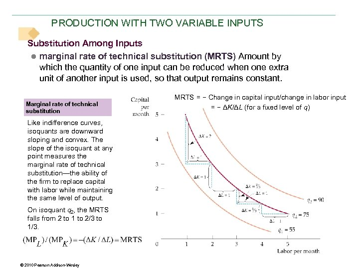 PRODUCTION WITH TWO VARIABLE INPUTS Substitution Among Inputs ● marginal rate of technical substitution