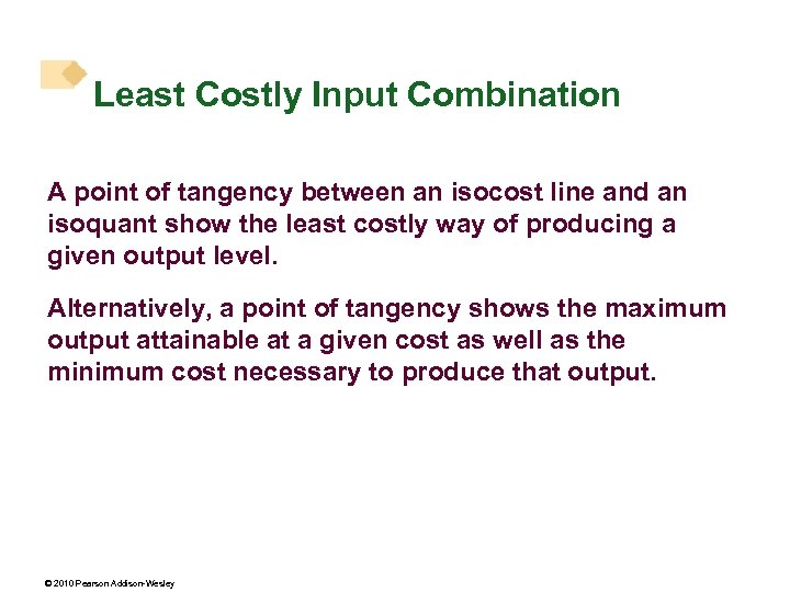 Least Costly Input Combination A point of tangency between an isocost line and an