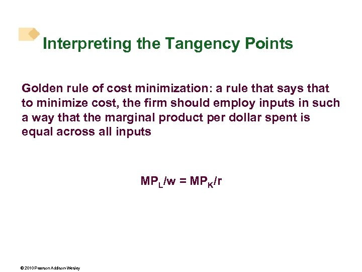 Interpreting the Tangency Points Golden rule of cost minimization: a rule that says that