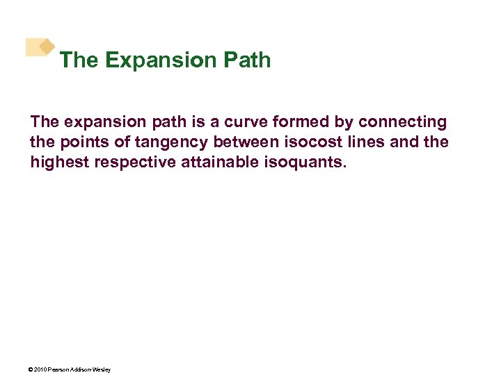 The Expansion Path The expansion path is a curve formed by connecting the points