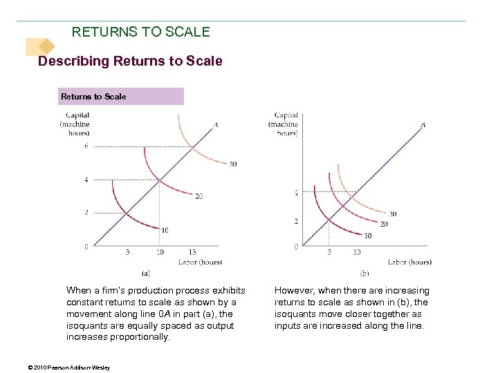 RETURNS TO SCALE Describing Returns to Scale When a firm's production process exhibits constant