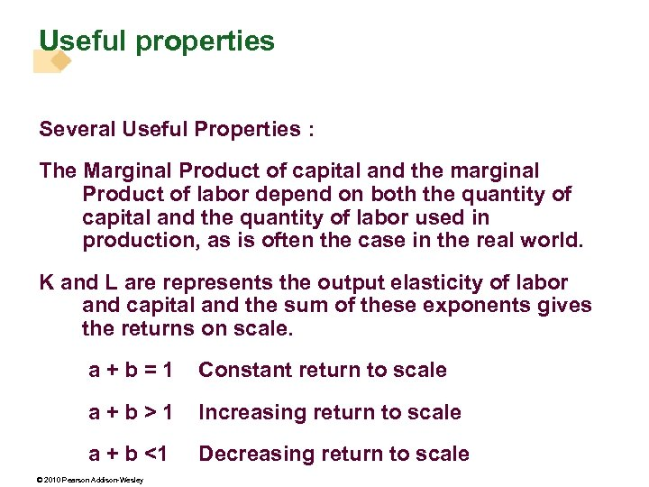 Useful properties Several Useful Properties : The Marginal Product of capital and the marginal