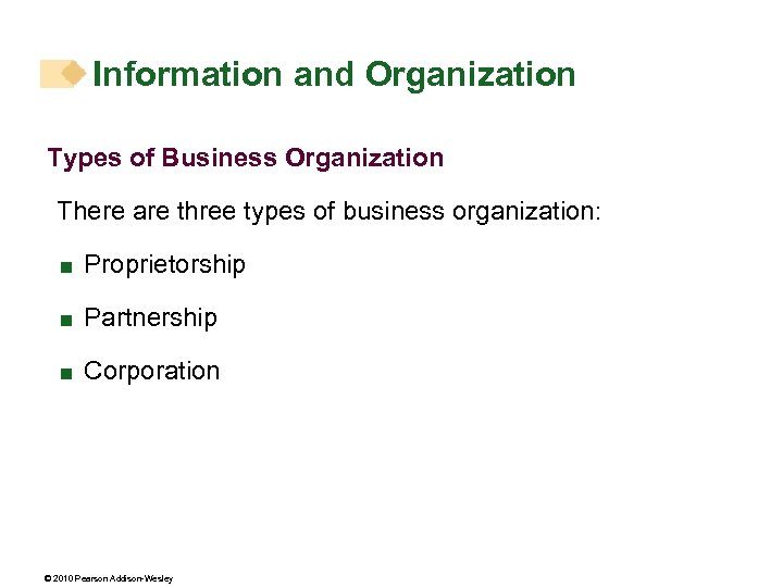 Information and Organization Types of Business Organization There are three types of business organization: