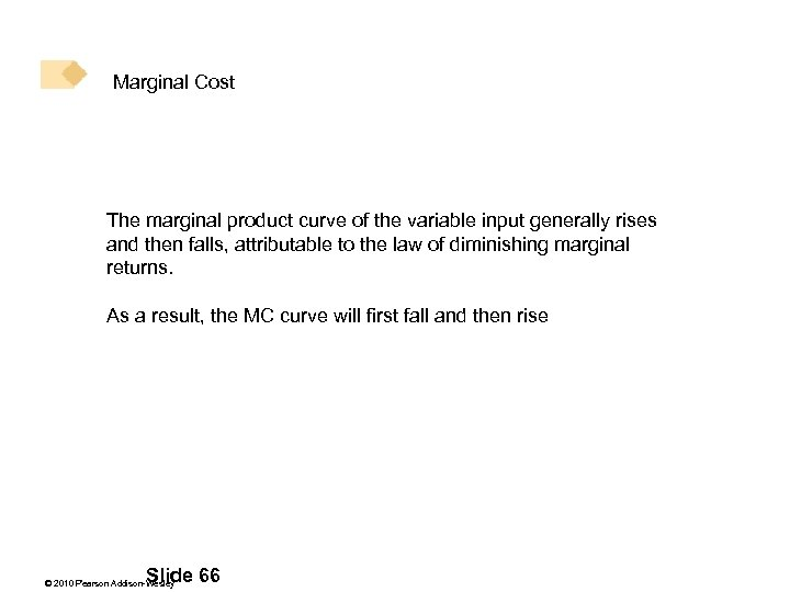Marginal Cost The marginal product curve of the variable input generally rises and then