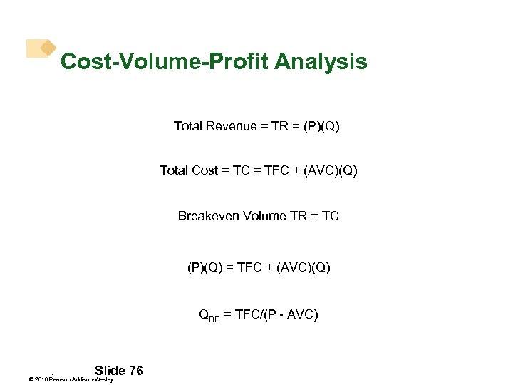 Cost-Volume-Profit Analysis Total Revenue = TR = (P)(Q) Total Cost = TC = TFC