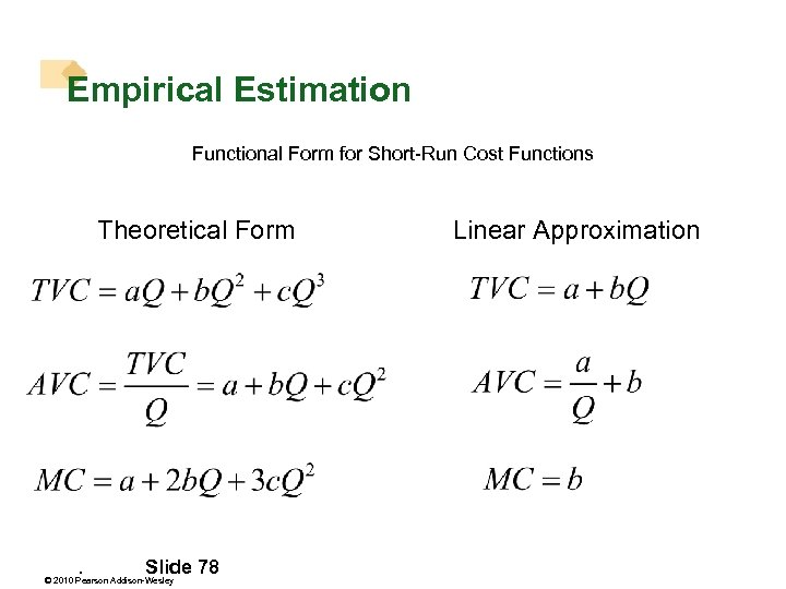 Empirical Estimation Functional Form for Short-Run Cost Functions Theoretical Form . Slide 78 ©