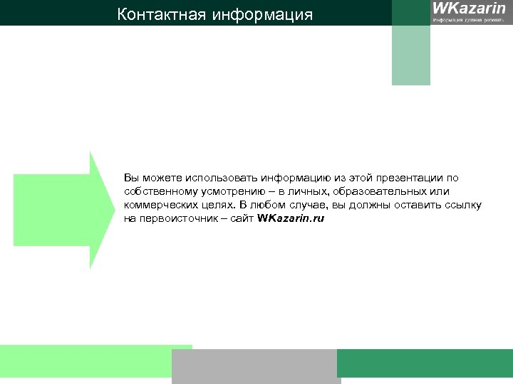 Контактная информация Вы можете использовать информацию из этой презентации по собственному усмотрению – в