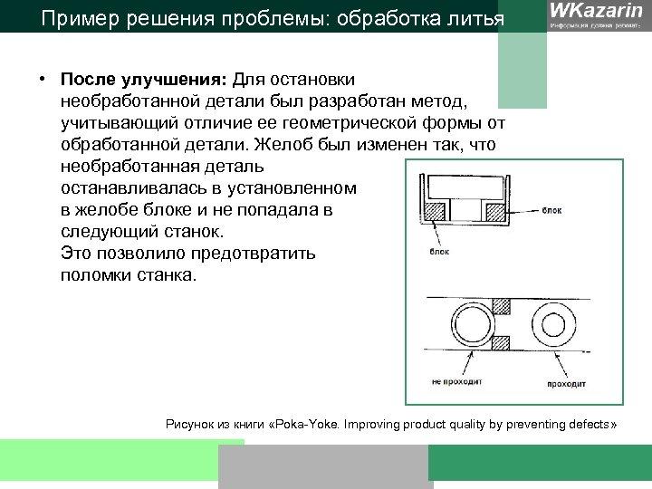 Пример решения проблемы: обработка литья • После улучшения: Для остановки необработанной детали был разработан