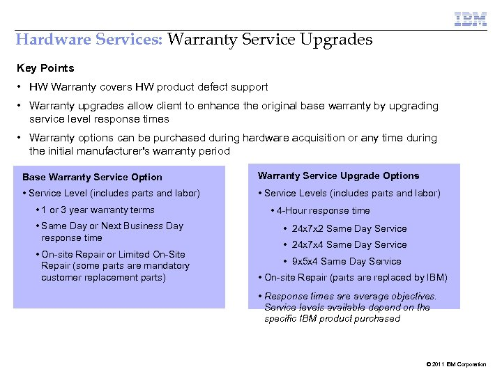 Hardware Services: Warranty Service Upgrades Key Points • HW Warranty covers HW product defect