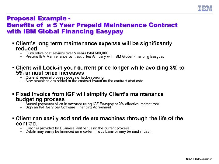Proposal Example Benefits of a 5 Year Prepaid Maintenance Contract with IBM Global Financing