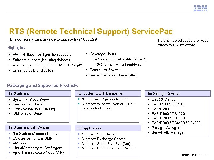 RTS (Remote Technical Support) Service. Pac ibm. com/services/us/index. wss/so/its/a 1000229 Part numbered support for