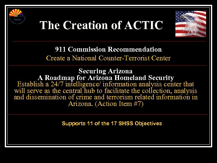 The Creation of ACTIC 911 Commission Recommendation Create a National Counter-Terrorist Center Securing Arizona