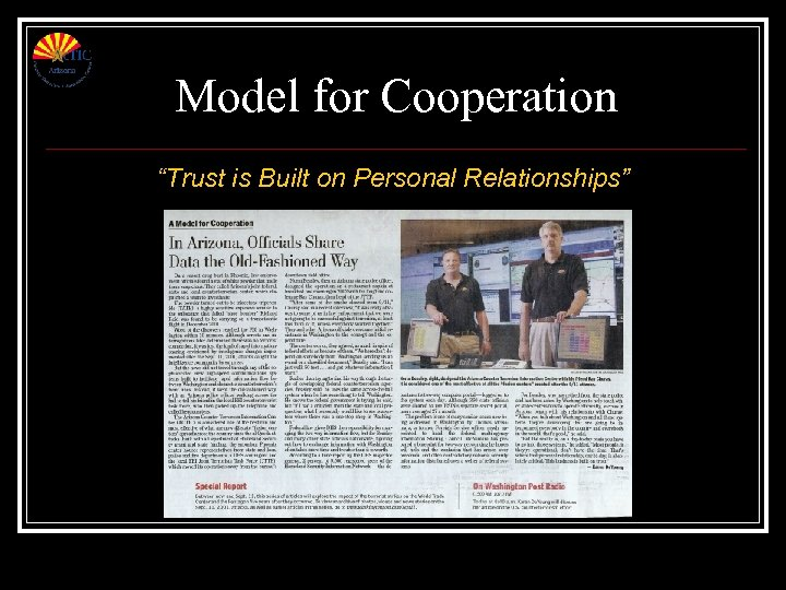 """Model for Cooperation """"Trust is Built on Personal Relationships"""""""