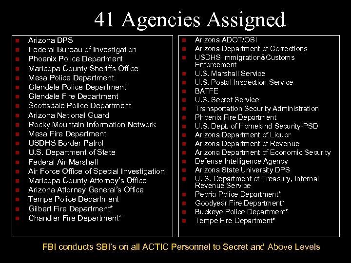 41 Agencies Assigned n n n n n Arizona DPS Federal Bureau of Investigation