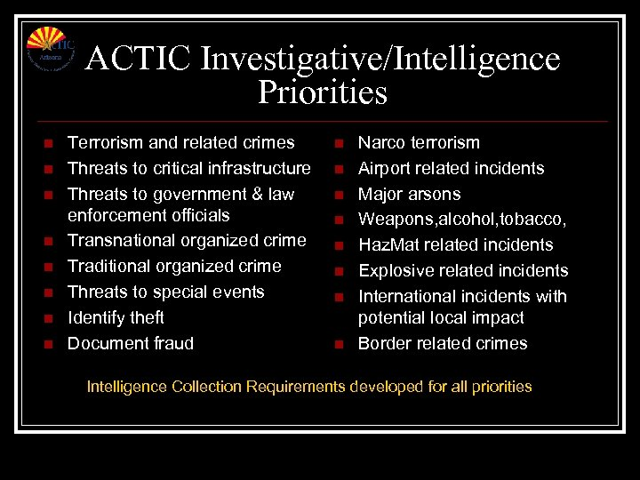ACTIC Investigative/Intelligence Priorities n n n n Terrorism and related crimes Threats to critical