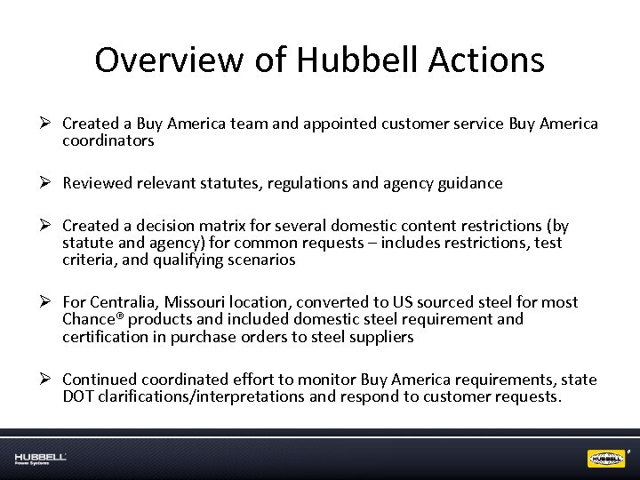 Overview of Hubbell Actions Ø Created a Buy America team and appointed customer service