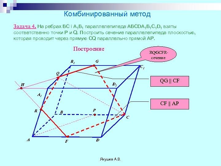 Комбинированный метод Задача 4. На ребрах ВС і А 1 В 1 параллелепипеда ABCDA
