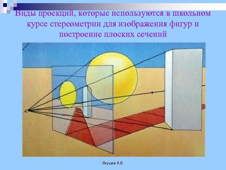 Виды проекций, которые используются в школьном курсе стереометрии для изображения фигур и построение плоских