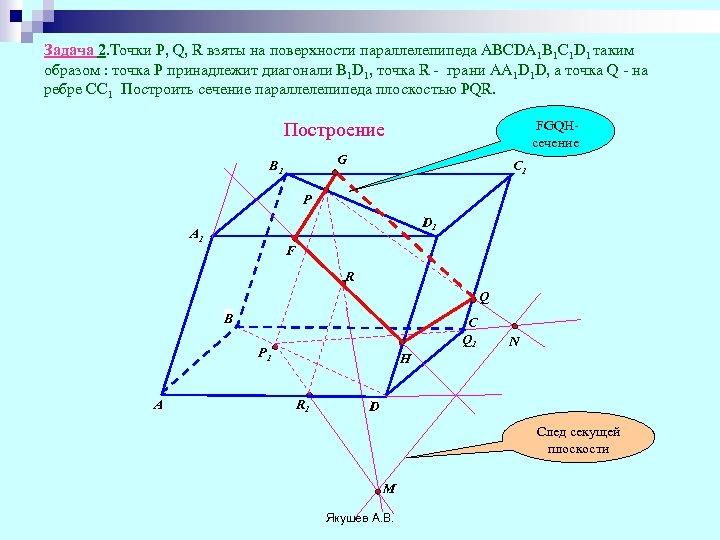Задача 2. Точки Р, Q, R взяты на поверхности параллелепипеда ABCDA 1 B 1
