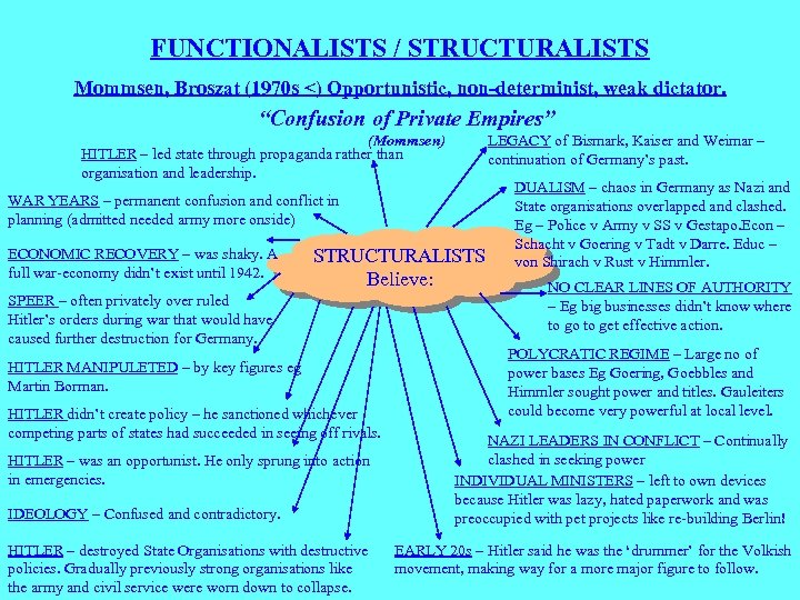 "FUNCTIONALISTS / STRUCTURALISTS Mommsen, Broszat (1970 s <) Opportunistic, non-determinist, weak dictator. ""Confusion of"