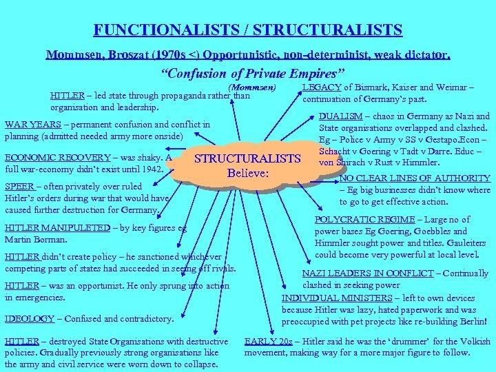 "FUNCTIONALISTS / STRUCTURALISTS Mommsen, Broszat (1970 s <) Opportunistic, non-determinist, weak dictator. ""Confusion of"