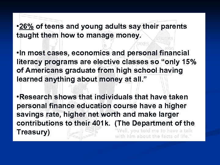 • 26% of teens and young adults say their parents taught them how