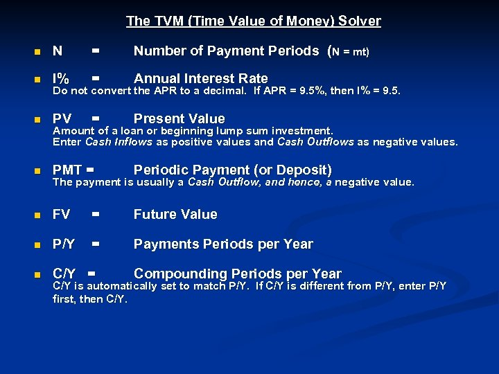 The TVM (Time Value of Money) Solver n N = Number of Payment Periods