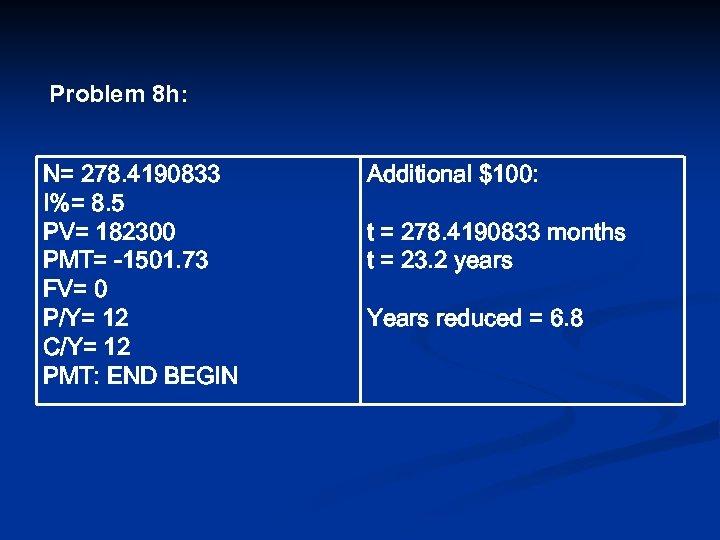 Problem 8 h: N= 278. 4190833 I%= 8. 5 PV= 182300 PMT= -1501. 73