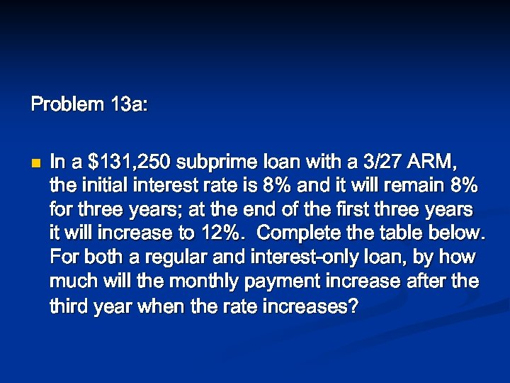 Problem 13 a: n In a $131, 250 subprime loan with a 3/27 ARM,