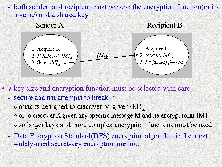 - both sender and recipient must possess the encryption function(or its inverse) and a