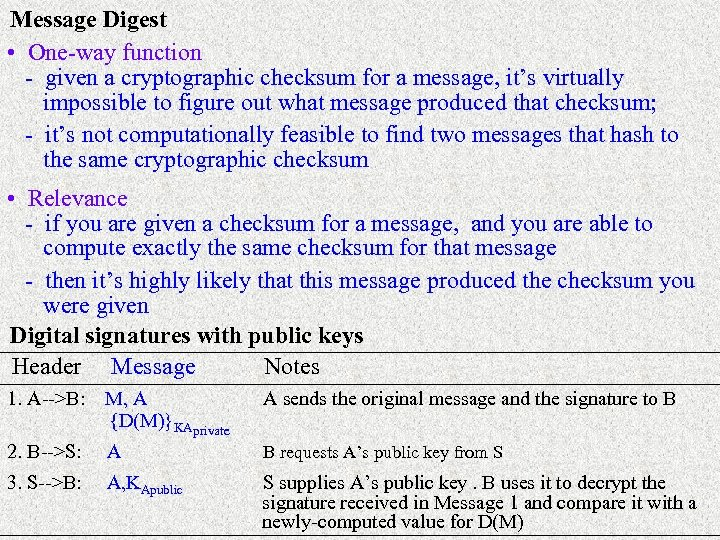 Message Digest • One-way function - given a cryptographic checksum for a message, it's