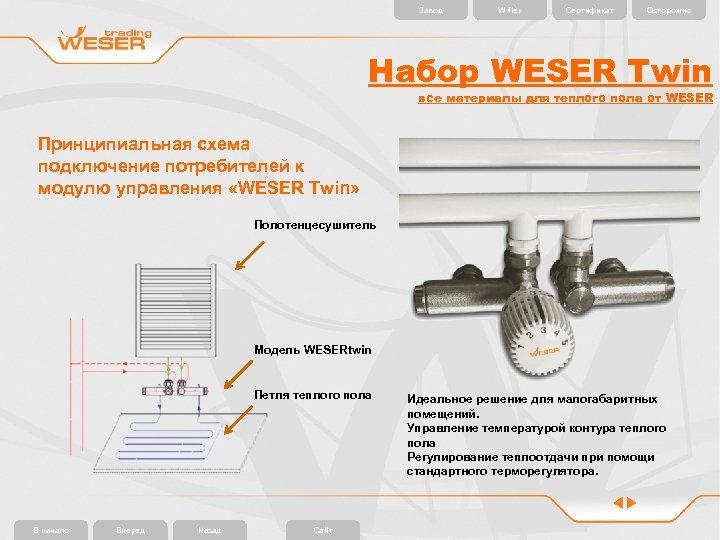 Завод W-flex Сертификат Осторожно Набор WESER Twin все материалы для теплого пола от WESER