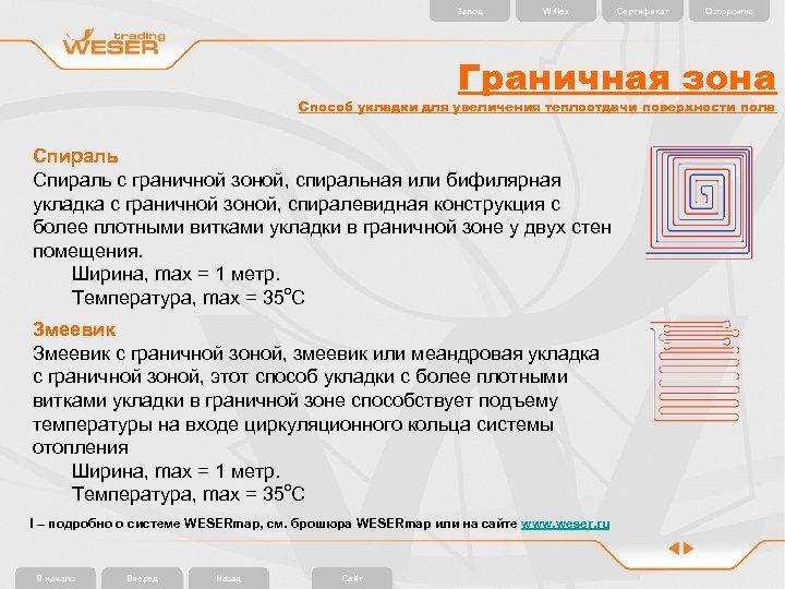Завод W-flex Сертификат Осторожно Граничная зона Способ укладки для увеличения теплоотдачи поверхности пола Спираль
