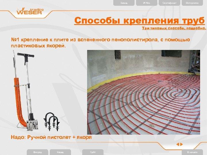 Завод W-flex Сертификат Осторожно Способы крепления труб Три типовых способа, подробно. № 1 крепление