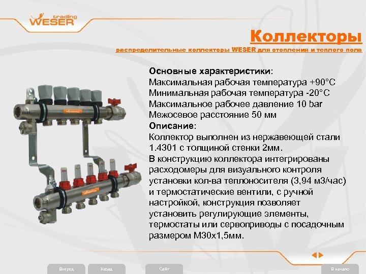 Коллекторы распределительные коллекторы WESER для отопления и теплого пола Основные характеристики: Максимальная рабочая температура