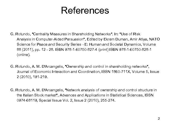 References G. Rotundo,