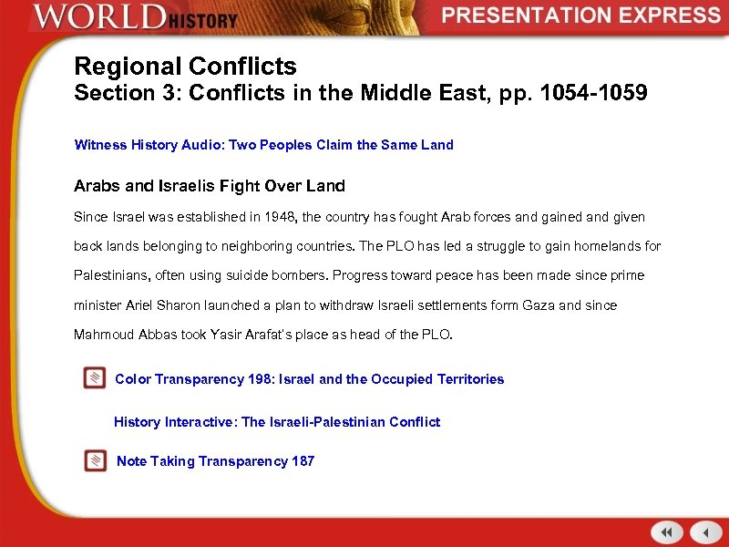 Regional Conflicts Section 3: Conflicts in the Middle East, pp. 1054 -1059 Witness History