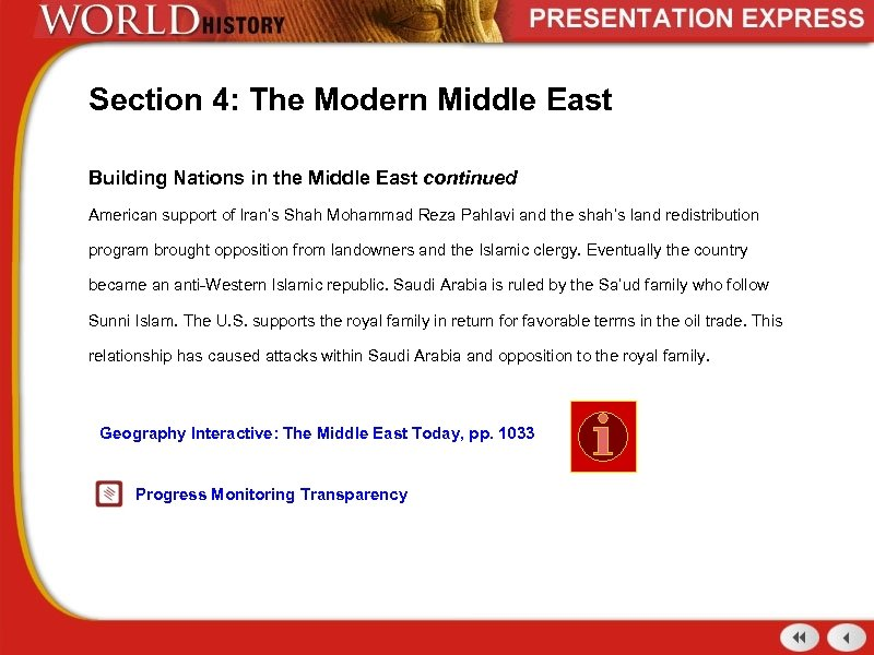 Section 4: The Modern Middle East Building Nations in the Middle East continued American